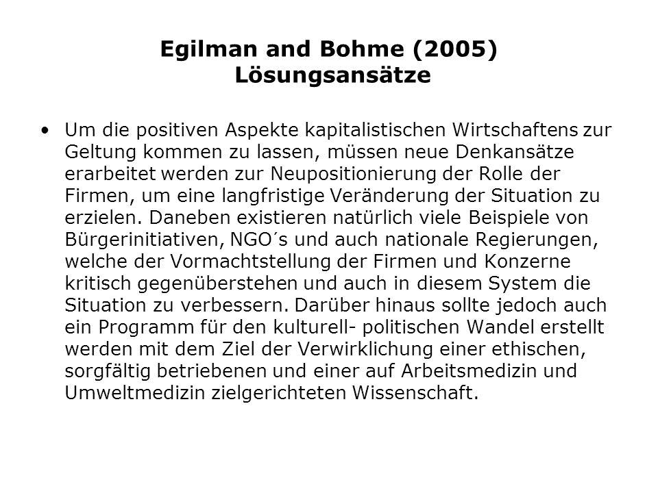 Egilman and Bohme (2005) Lösungsansätze Um die positiven Aspekte kapitalistischen Wirtschaftens zur Geltung kommen zu lassen, müssen neue Denkansätze erarbeitet werden zur Neupositionierung der Rolle der Firmen, um eine langfristige Veränderung der Situation zu erzielen.