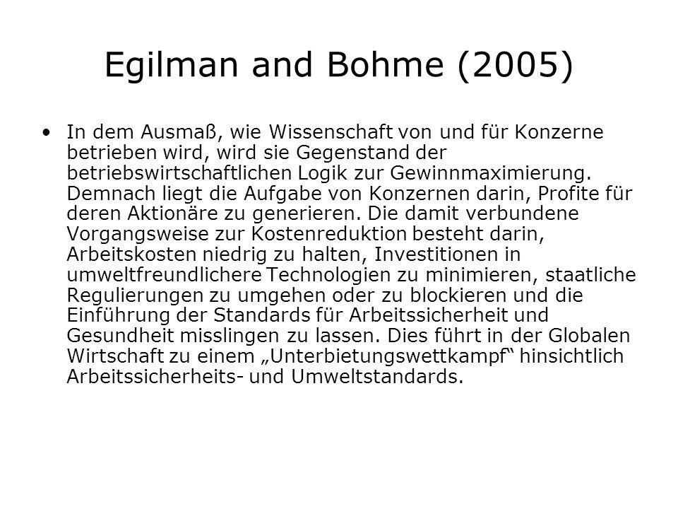 Egilman and Bohme (2005) In dem Ausmaß, wie Wissenschaft von und für Konzerne betrieben wird, wird sie Gegenstand der betriebswirtschaftlichen Logik zur Gewinnmaximierung.