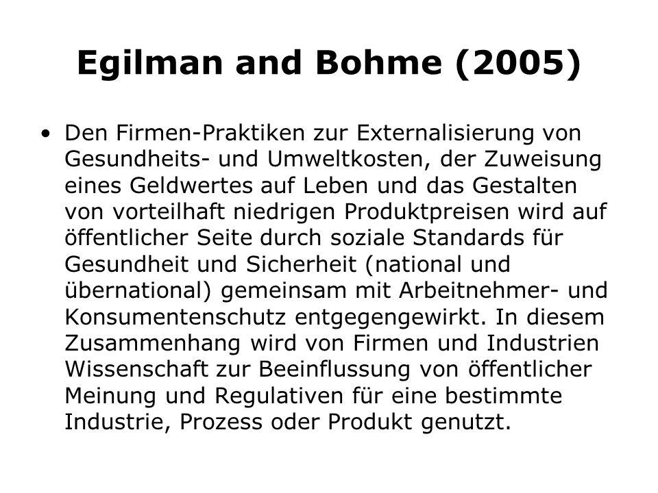 Egilman and Bohme (2005) Den Firmen-Praktiken zur Externalisierung von Gesundheits- und Umweltkosten, der Zuweisung eines Geldwertes auf Leben und das Gestalten von vorteilhaft niedrigen Produktpreisen wird auf öffentlicher Seite durch soziale Standards für Gesundheit und Sicherheit (national und übernational) gemeinsam mit Arbeitnehmer- und Konsumentenschutz entgegengewirkt.
