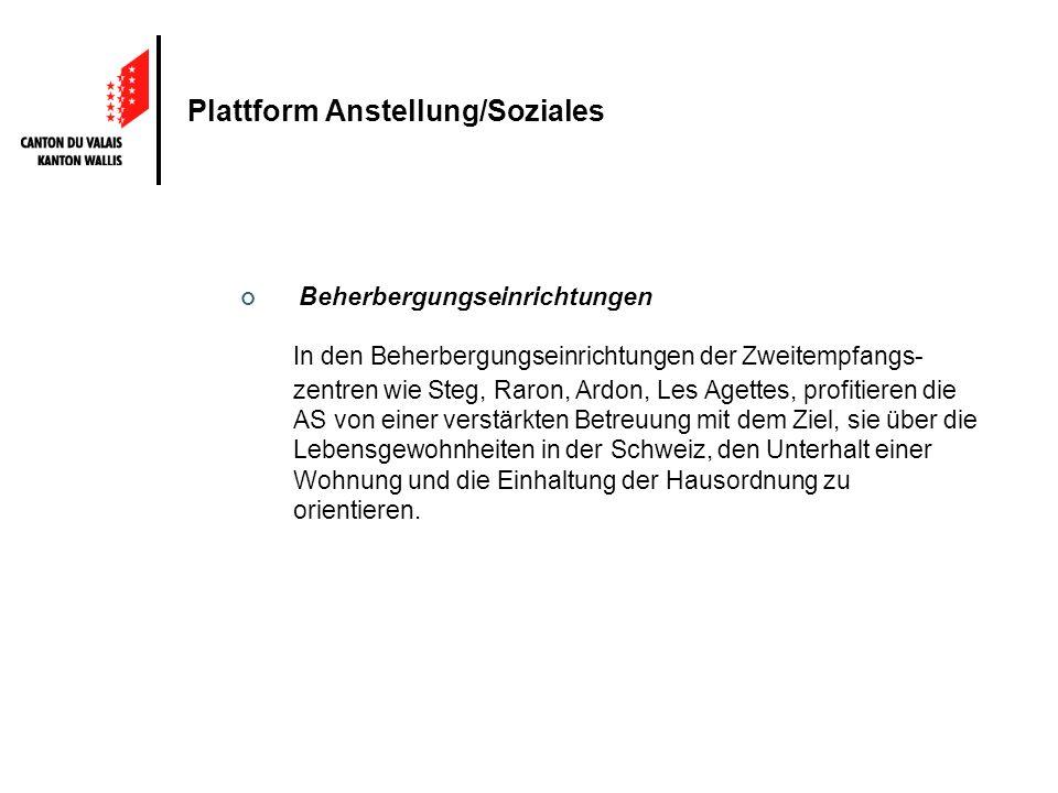 Plattform Anstellung/Soziales Beherbergungseinrichtungen In den Beherbergungseinrichtungen der Zweitempfangs- zentren wie Steg, Raron, Ardon, Les Aget