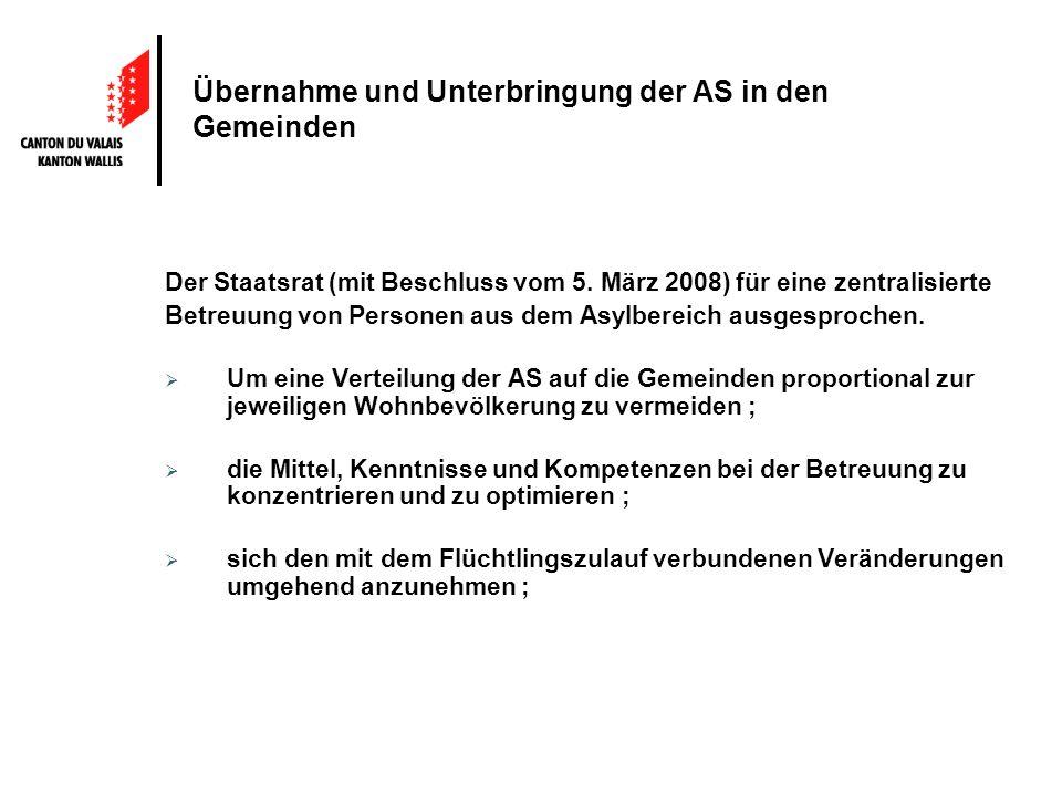 Übernahme und Unterbringung der AS in den Gemeinden Der Staatsrat (mit Beschluss vom 5. März 2008) für eine zentralisierte Betreuung von Personen aus