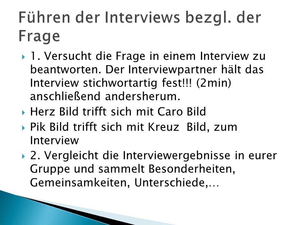 1.Versucht die Frage in einem Interview zu beantworten.