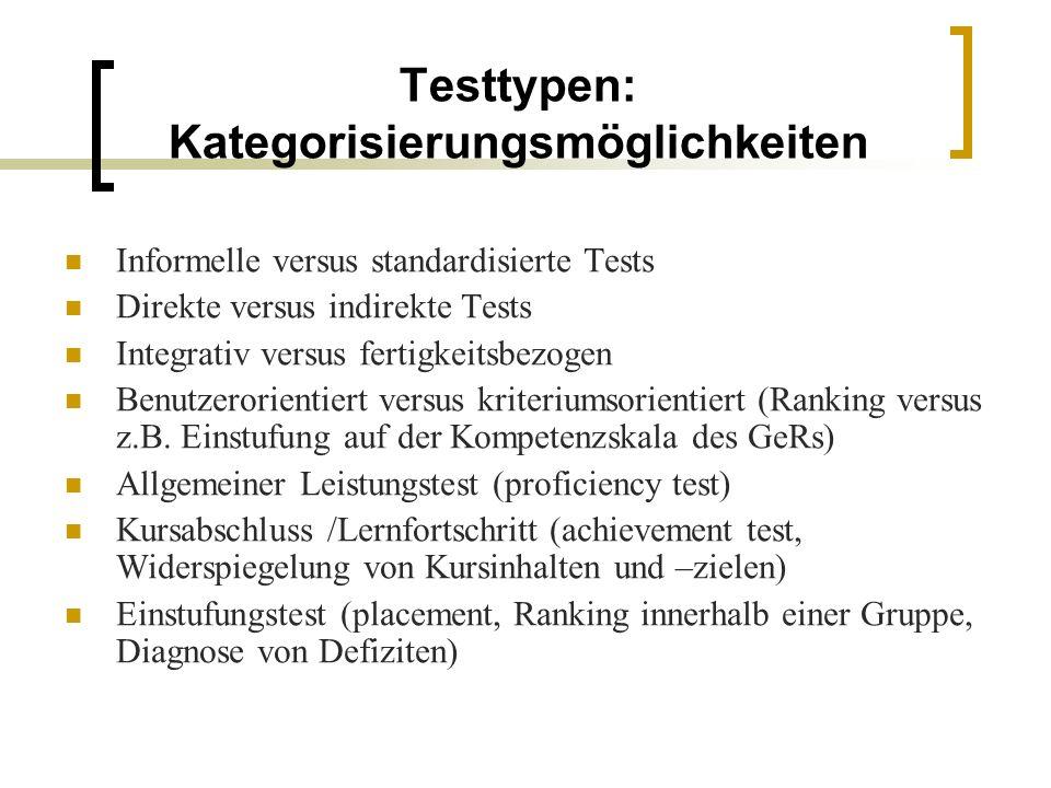 Testtypen: Kategorisierungsmöglichkeiten Informelle versus standardisierte Tests Direkte versus indirekte Tests Integrativ versus fertigkeitsbezogen Benutzerorientiert versus kriteriumsorientiert (Ranking versus z.B.
