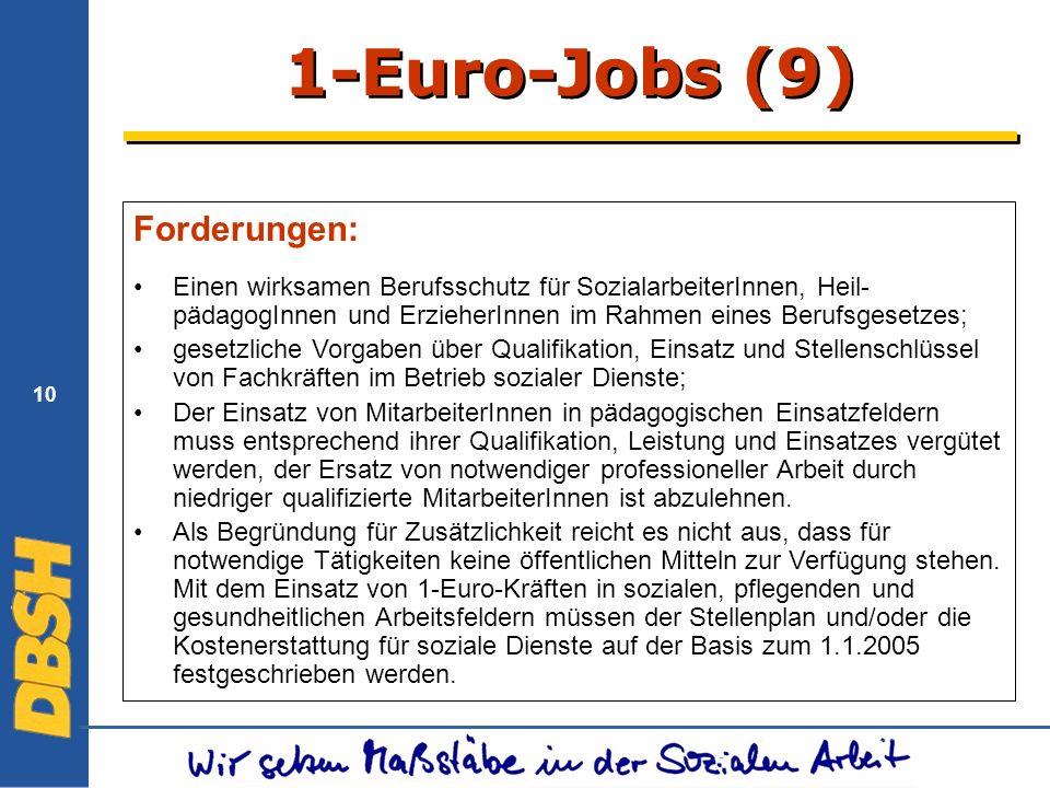 10 1-Euro-Jobs (9) Forderungen: Einen wirksamen Berufsschutz für SozialarbeiterInnen, Heil- pädagogInnen und ErzieherInnen im Rahmen eines Berufsgesetzes; gesetzliche Vorgaben über Qualifikation, Einsatz und Stellenschlüssel von Fachkräften im Betrieb sozialer Dienste; Der Einsatz von MitarbeiterInnen in pädagogischen Einsatzfeldern muss entsprechend ihrer Qualifikation, Leistung und Einsatzes vergütet werden, der Ersatz von notwendiger professioneller Arbeit durch niedriger qualifizierte MitarbeiterInnen ist abzulehnen.