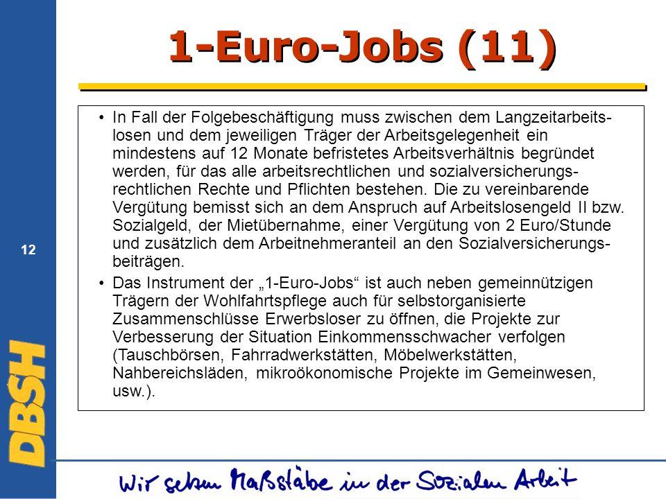 12 1-Euro-Jobs (11) In Fall der Folgebeschäftigung muss zwischen dem Langzeitarbeits- losen und dem jeweiligen Träger der Arbeitsgelegenheit ein mindestens auf 12 Monate befristetes Arbeitsverhältnis begründet werden, für das alle arbeitsrechtlichen und sozialversicherungs- rechtlichen Rechte und Pflichten bestehen.