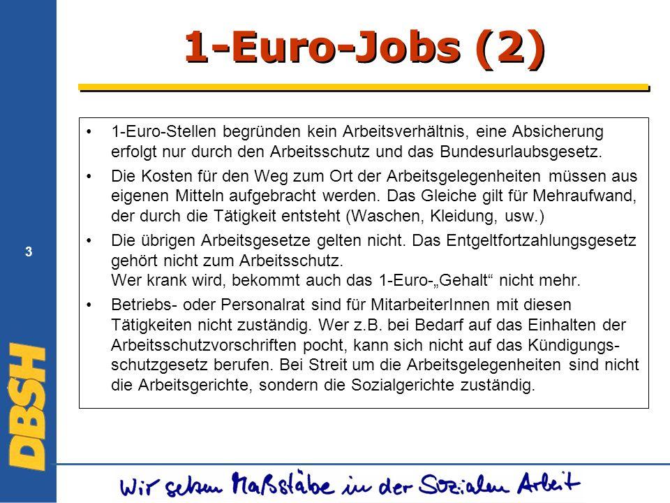 3 1-Euro-Jobs (2) 1-Euro-Stellen begründen kein Arbeitsverhältnis, eine Absicherung erfolgt nur durch den Arbeitsschutz und das Bundesurlaubsgesetz.
