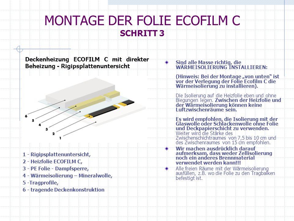 MONTAGE DER FOLIE ECOFILM C SCHRITT 4 Die ganze Foliebahn sowie alle weiteren Foliebahnen auf die gleiche Weise befestigen.