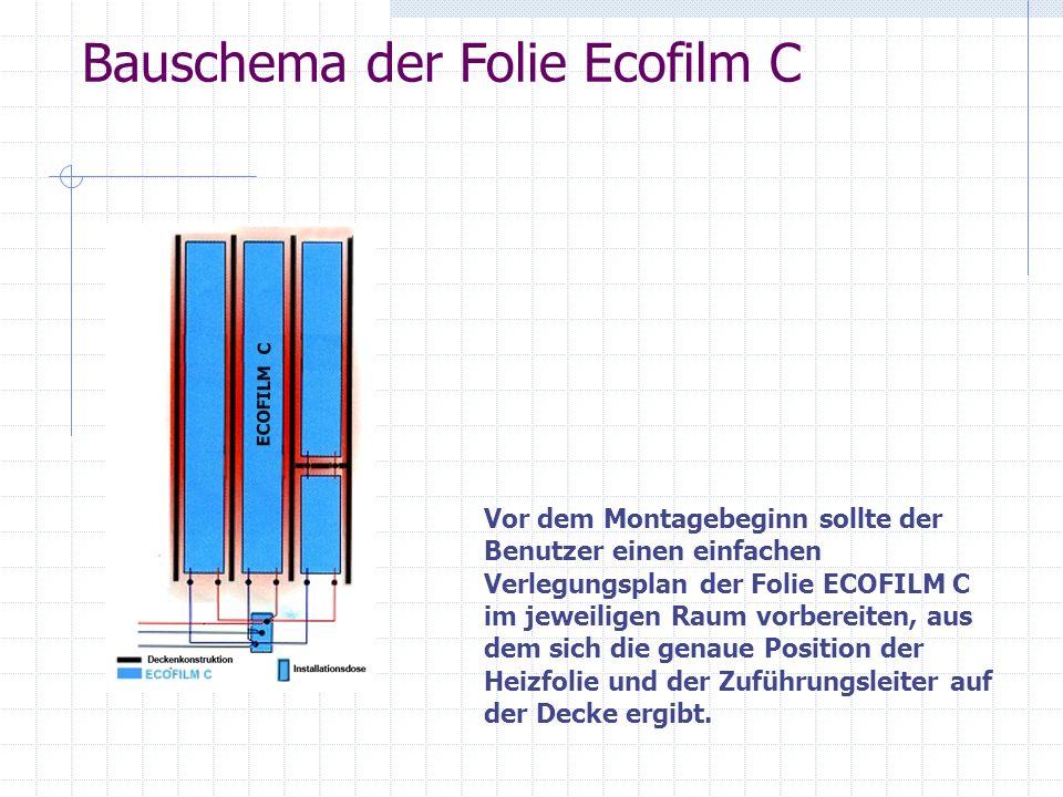 Vorbereitung der Heizfolie (Schneiden und Isolierung) Die Folie ECOFILM C in erforderlichen Längen gemäß dem Plan vorbereiten.