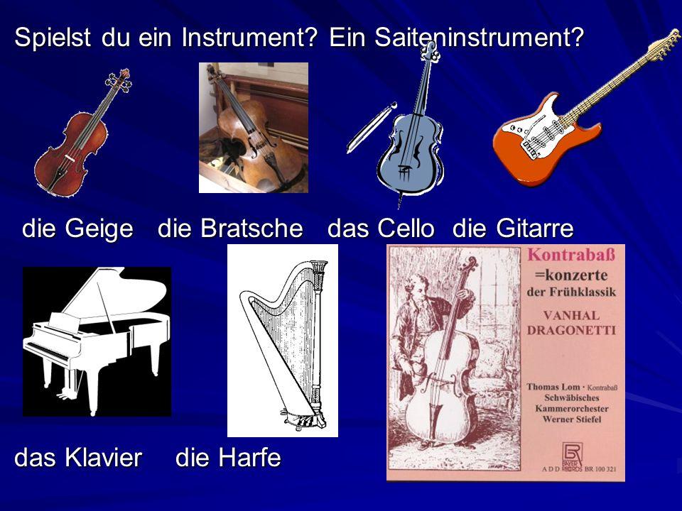 Spielst du ein Instrument? Ein Saiteninstrument? Spielst du ein Instrument? Ein Saiteninstrument? die Geige die Bratsche das Cello die Gitarre die Gei