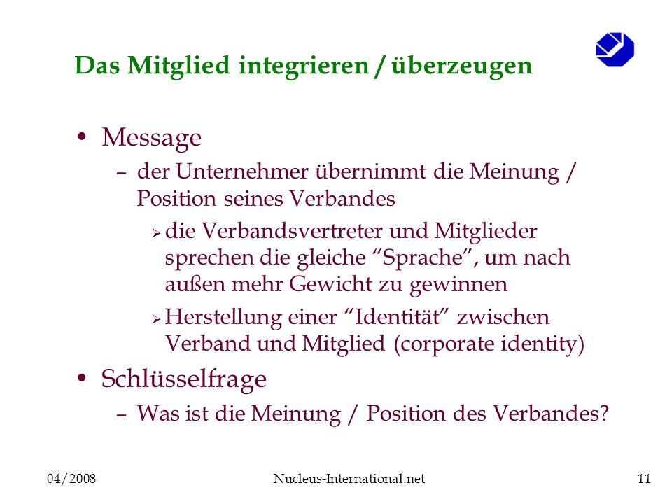 04/2008Nucleus-International.net11 Das Mitglied integrieren / überzeugen Message –der Unternehmer übernimmt die Meinung / Position seines Verbandes di