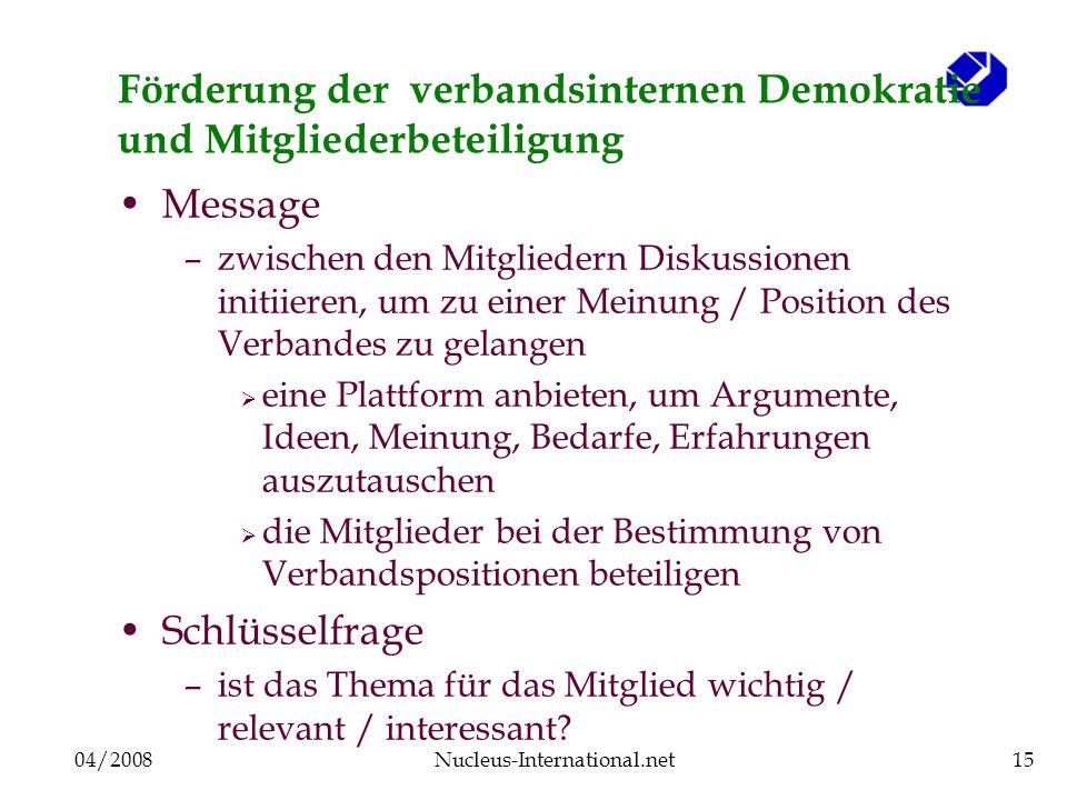 04/2008Nucleus-International.net15 Förderung der verbandsinternen Demokratie und Mitgliederbeteiligung Message –zwischen den Mitgliedern Diskussionen
