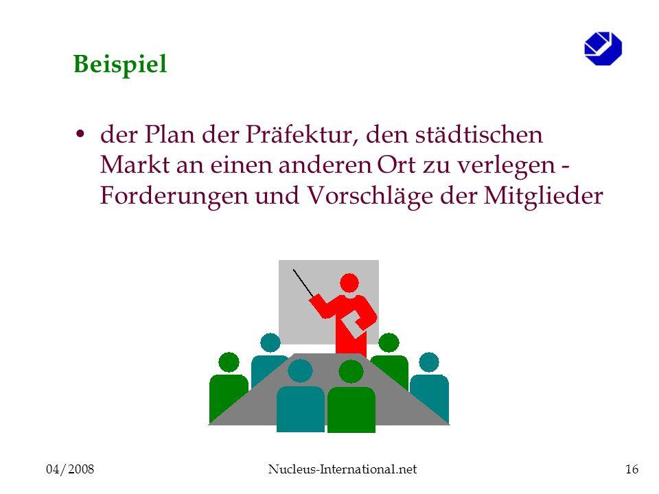 04/2008Nucleus-International.net16 Beispiel der Plan der Präfektur, den städtischen Markt an einen anderen Ort zu verlegen - Forderungen und Vorschläge der Mitglieder