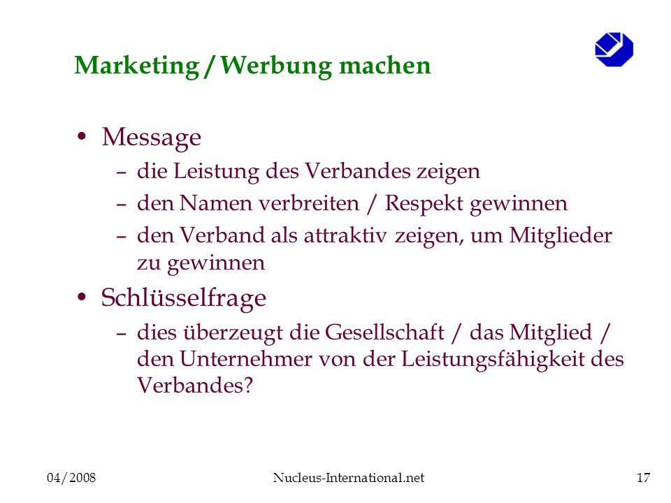 04/2008Nucleus-International.net17 Marketing / Werbung machen Message –die Leistung des Verbandes zeigen –den Namen verbreiten / Respekt gewinnen –den