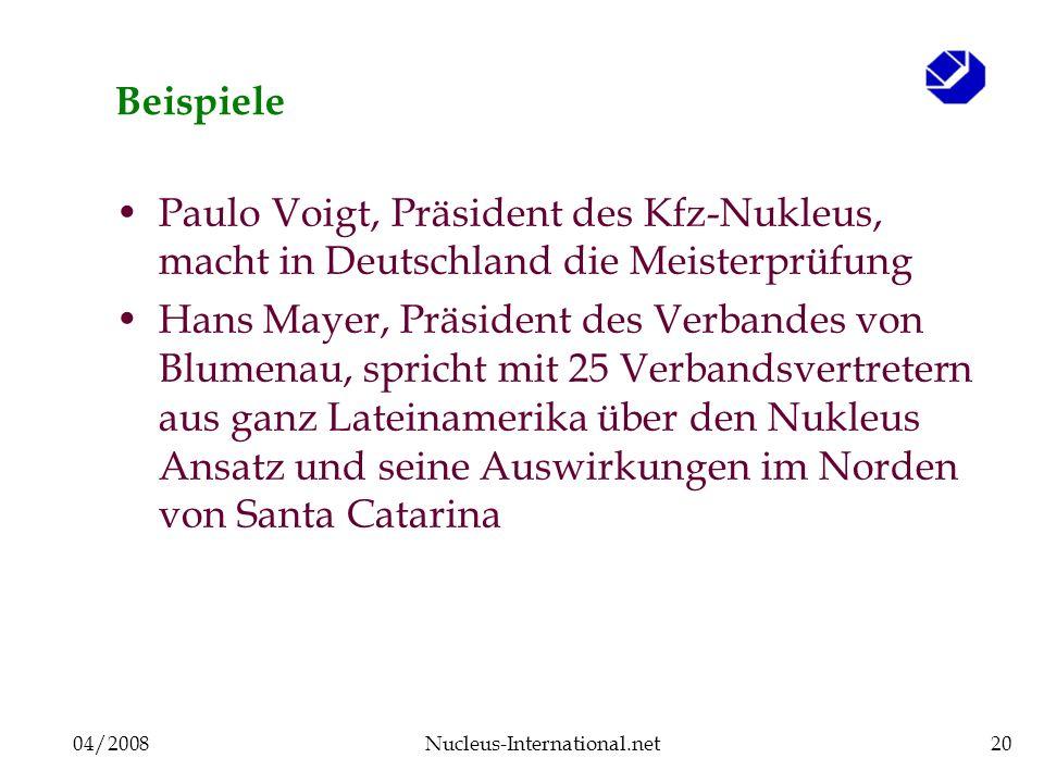 04/2008Nucleus-International.net20 Beispiele Paulo Voigt, Präsident des Kfz-Nukleus, macht in Deutschland die Meisterprüfung Hans Mayer, Präsident des