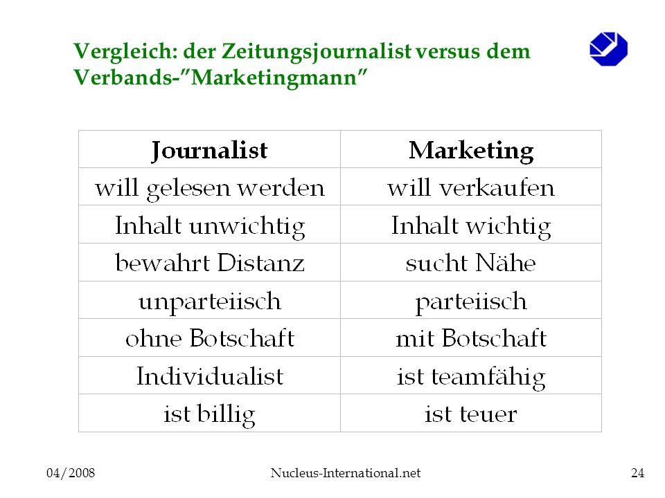 04/2008Nucleus-International.net24 Vergleich: der Zeitungsjournalist versus dem Verbands-Marketingmann