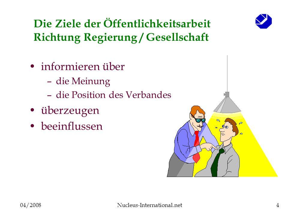 04/2008Nucleus-International.net4 Die Ziele der Öffentlichkeitsarbeit Richtung Regierung / Gesellschaft informieren über –die Meinung –die Position de