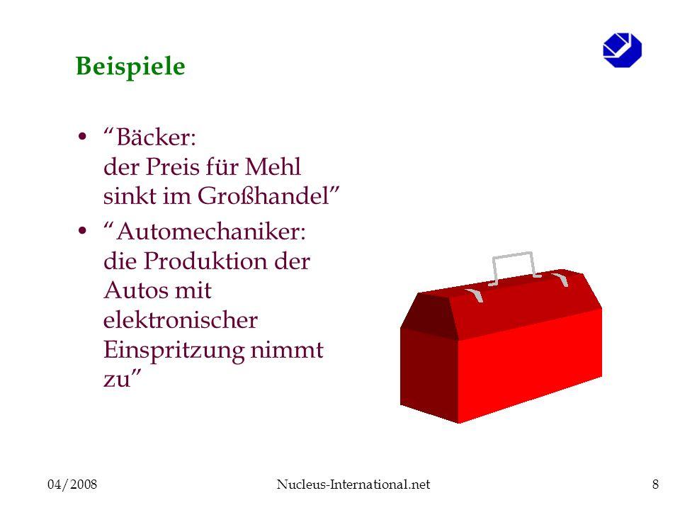 04/2008Nucleus-International.net8 Beispiele Bäcker: der Preis für Mehl sinkt im Großhandel Automechaniker: die Produktion der Autos mit elektronischer Einspritzung nimmt zu