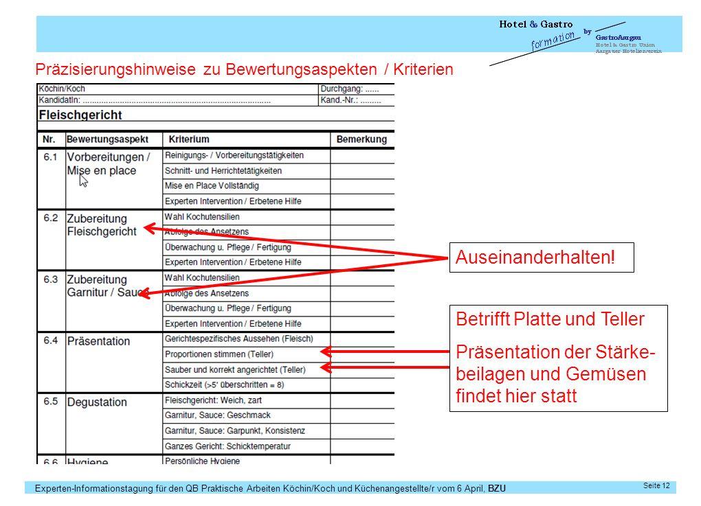 Experten-Informationstagung für den QB Praktische Arbeiten Köchin/Koch und Küchenangestellte/r vom 6 April, BZU Seite 12 Auseinanderhalten! Präzisieru