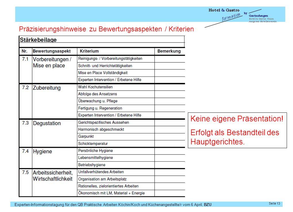 Experten-Informationstagung für den QB Praktische Arbeiten Köchin/Koch und Küchenangestellte/r vom 6 April, BZU Seite 13 Keine eigene Präsentation! Er