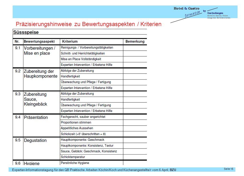 Experten-Informationstagung für den QB Praktische Arbeiten Köchin/Koch und Küchenangestellte/r vom 6 April, BZU Seite 15 Präzisierungshinweise zu Bewe