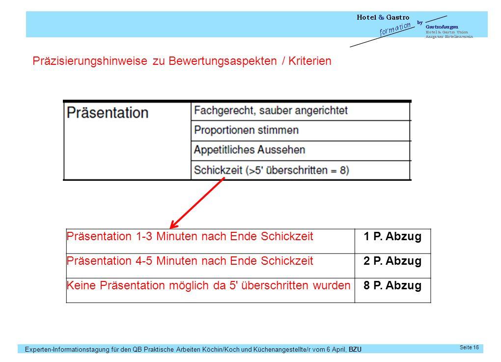 Experten-Informationstagung für den QB Praktische Arbeiten Köchin/Koch und Küchenangestellte/r vom 6 April, BZU Seite 16 Präsentation 1-3 Minuten nach