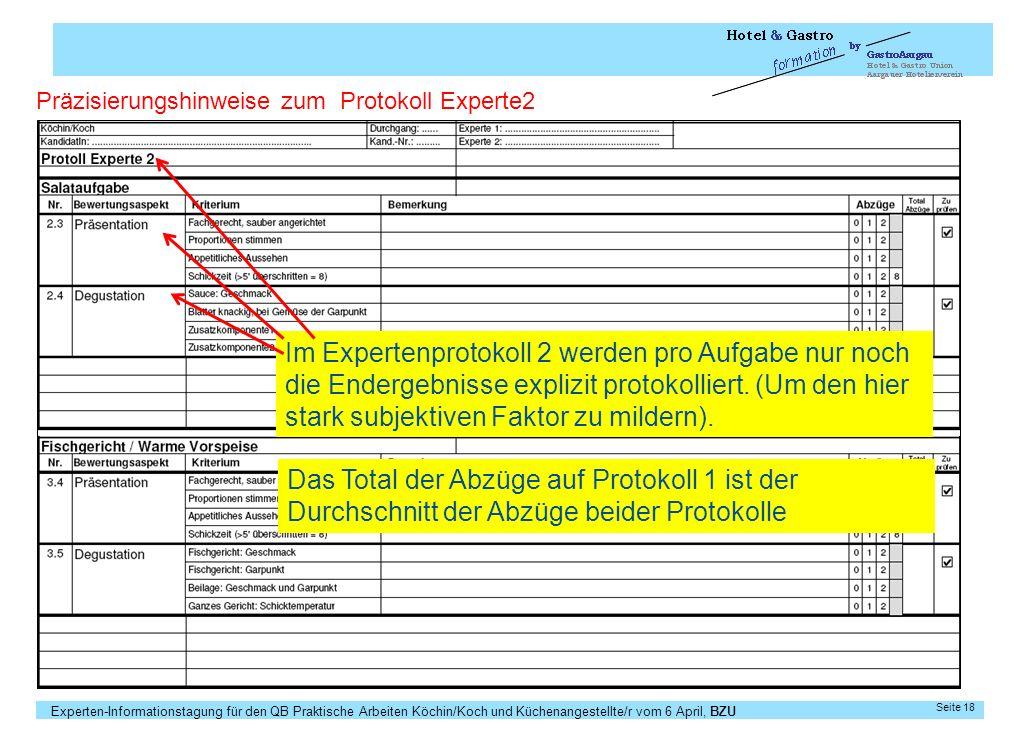 Experten-Informationstagung für den QB Praktische Arbeiten Köchin/Koch und Küchenangestellte/r vom 6 April, BZU Seite 18 Präzisierungshinweise zum Pro