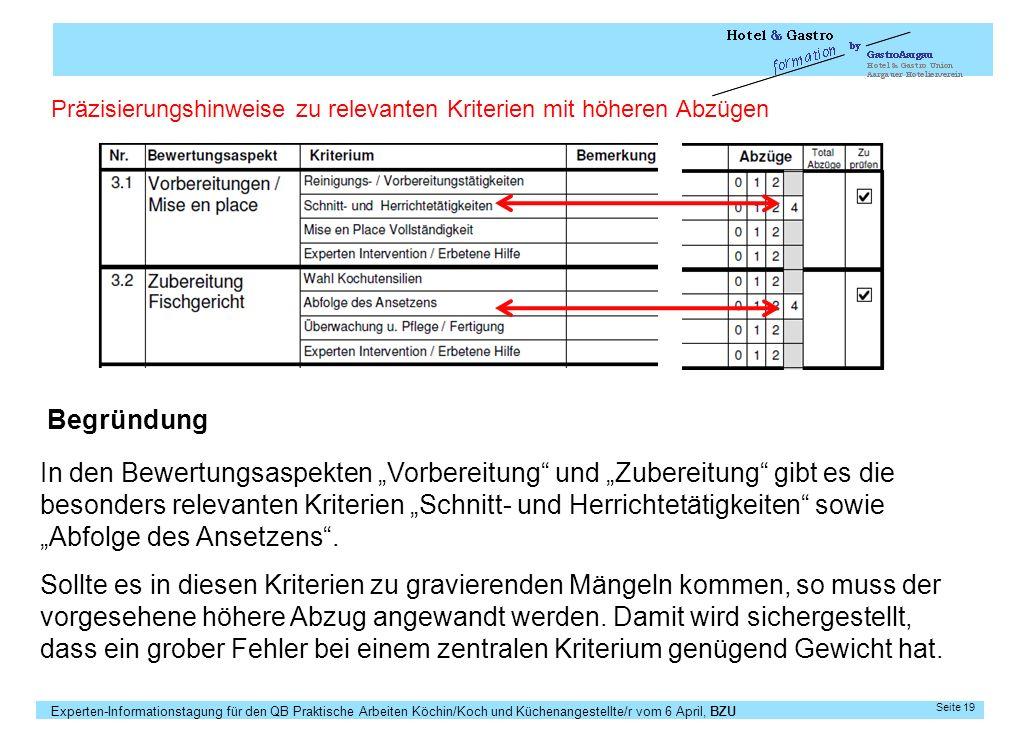 Experten-Informationstagung für den QB Praktische Arbeiten Köchin/Koch und Küchenangestellte/r vom 6 April, BZU Seite 19 Präzisierungshinweise zu rele