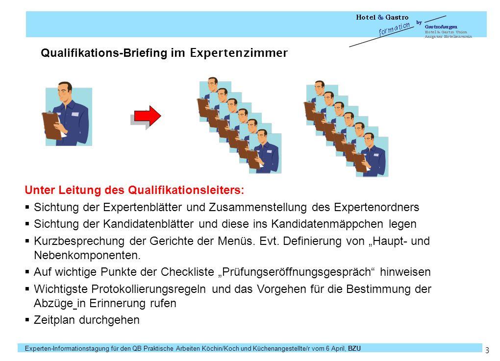 Experten-Informationstagung für den QB Praktische Arbeiten Köchin/Koch und Küchenangestellte/r vom 6 April, BZU Seite 14 Präzisierungshinweise zu Bewertungsaspekten / Kriterien Keine eigene Präsentation.
