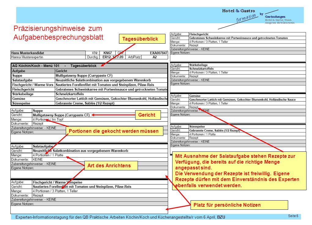 Experten-Informationstagung für den QB Praktische Arbeiten Köchin/Koch und Küchenangestellte/r vom 6 April, BZU Seite 5 Tagesüberblick Mit Ausnahme de