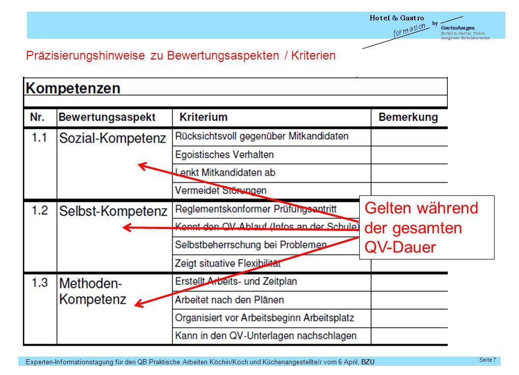 Experten-Informationstagung für den QB Praktische Arbeiten Köchin/Koch und Küchenangestellte/r vom 6 April, BZU Seite 7 Präzisierungshinweise zu Bewer