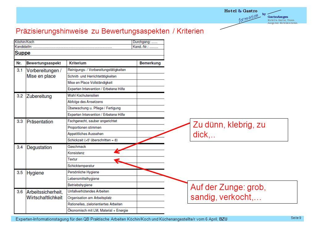 Experten-Informationstagung für den QB Praktische Arbeiten Köchin/Koch und Küchenangestellte/r vom 6 April, BZU Seite 10 Blattsalat / Gemüse Weisung erfolgen durch die Qualifikationsleiter beim Briefing Präzisierungshinweise zu Bewertungsaspekten / Kriterien