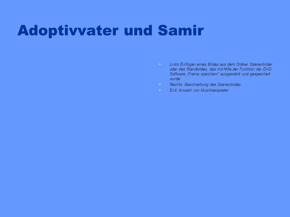 Adoptivvater und Samir Links Einfügen eines Bildes aus dem Ordner Szenenbilder oder des Standbildes, das mit Hilfe der Funktion der DVD Software Frame