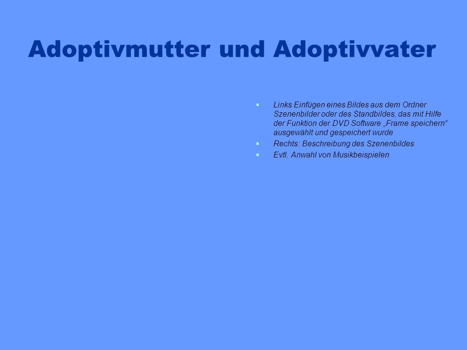 Adoptivmutter und Adoptivvater Links Einfügen eines Bildes aus dem Ordner Szenenbilder oder des Standbildes, das mit Hilfe der Funktion der DVD Softwa