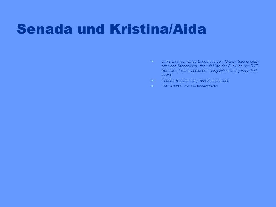Senada und Samir Links Einfügen eines Bildes aus dem Ordner Szenenbilder oder des Standbildes, das mit Hilfe der Funktion der DVD Software Frame speichern ausgewählt und gespeichert wurde Rechts: Beschreibung des Szenenbildes Evtl.