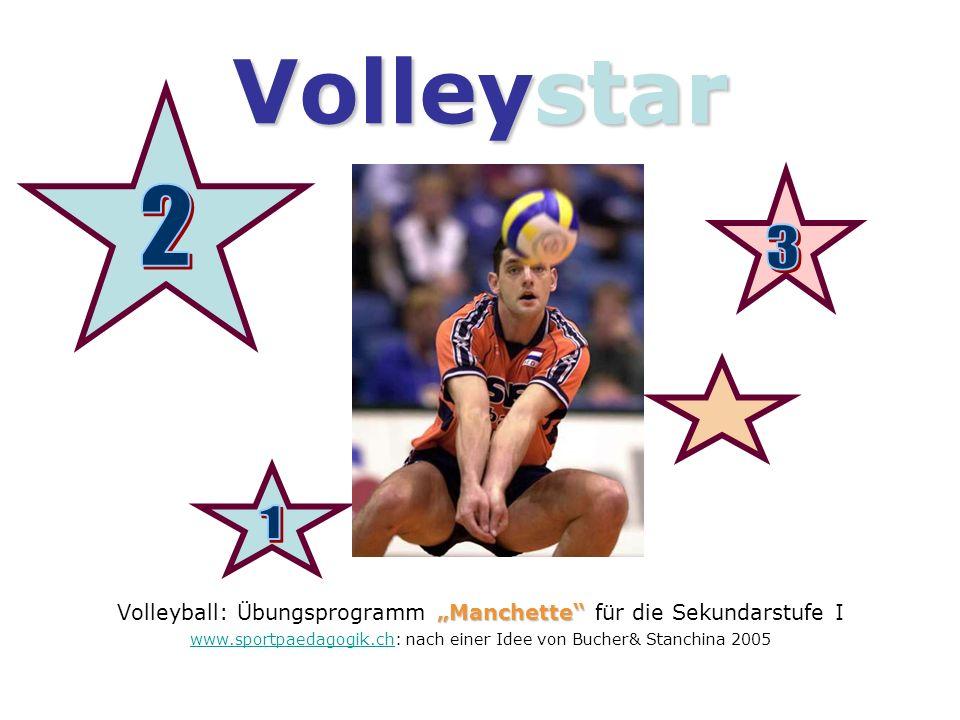 Volleystar Manchette Volleyball: Übungsprogramm Manchette für die Sekundarstufe I www.sportpaedagogik.chwww.sportpaedagogik.ch: nach einer Idee von Bu