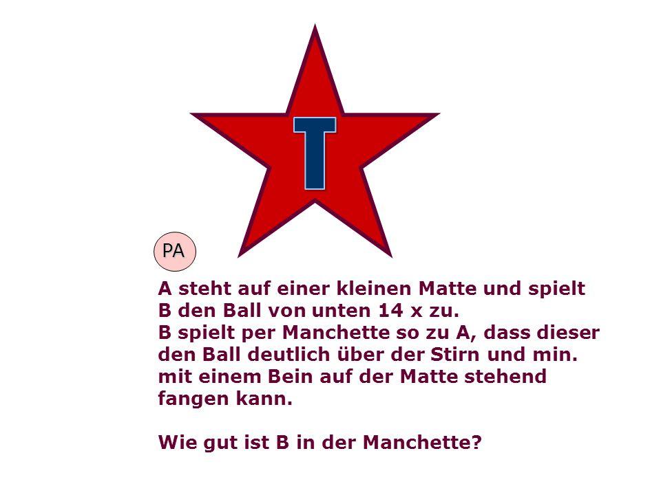A steht auf einer kleinen Matte und spielt B den Ball von unten 14 x zu. B spielt per Manchette so zu A, dass dieser den Ball deutlich über der Stirn