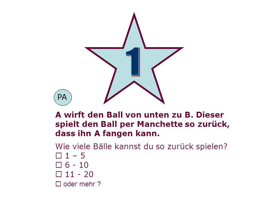 A wirft den Ball von unten zu B. Dieser spielt den Ball per Manchette so zurück, dass ihn A fangen kann. Wie viele Bälle kannst du so zurück spielen?