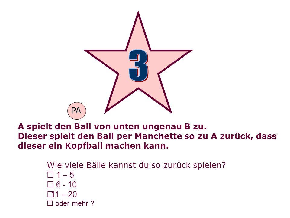 A spielt den Ball von unten ungenau B zu. Dieser spielt den Ball per Manchette so zu A zurück, dass dieser ein Kopfball machen kann. Wie viele Bälle k