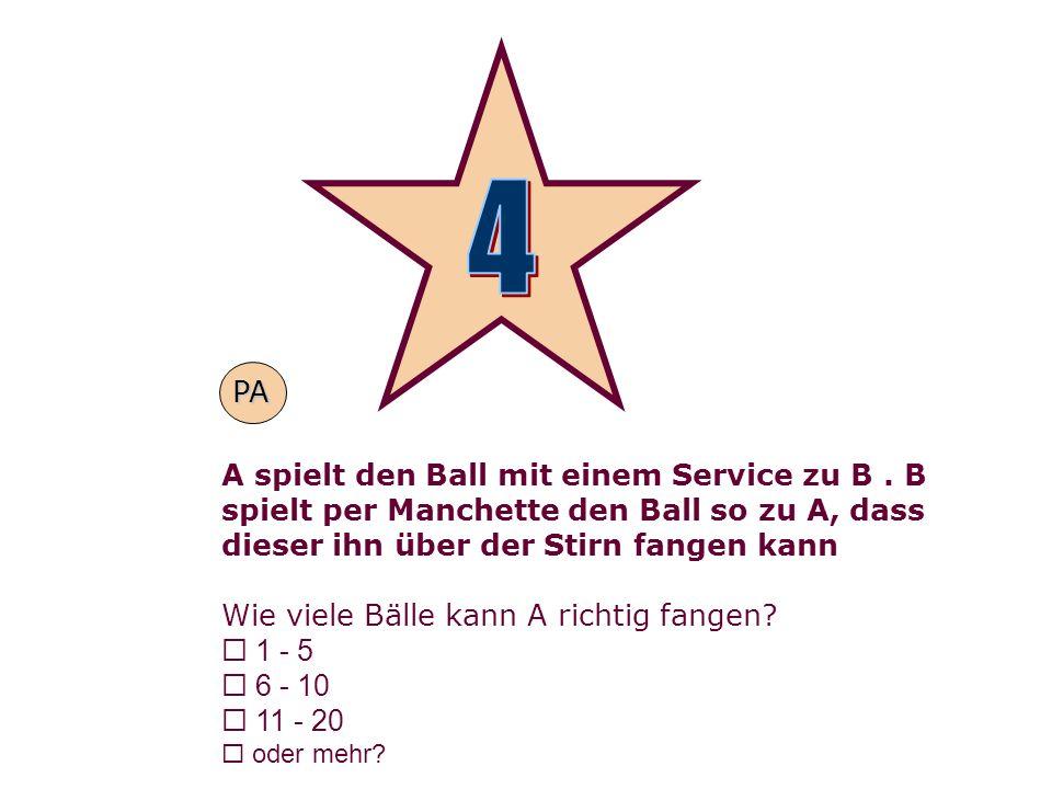 A spielt den Ball mit einem Service zu B. B spielt per Manchette den Ball so zu A, dass dieser ihn über der Stirn fangen kann Wie viele Bälle kann A r