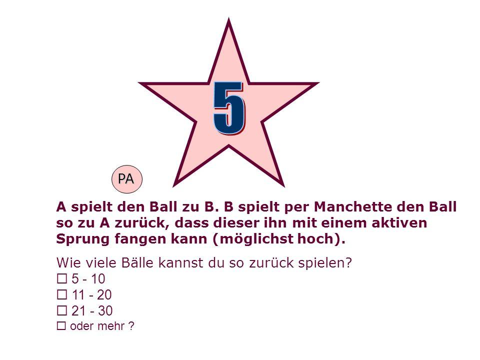 A spielt den Ball zu B. B spielt per Manchette den Ball so zu A zurück, dass dieser ihn mit einem aktiven Sprung fangen kann (möglichst hoch). Wie vie