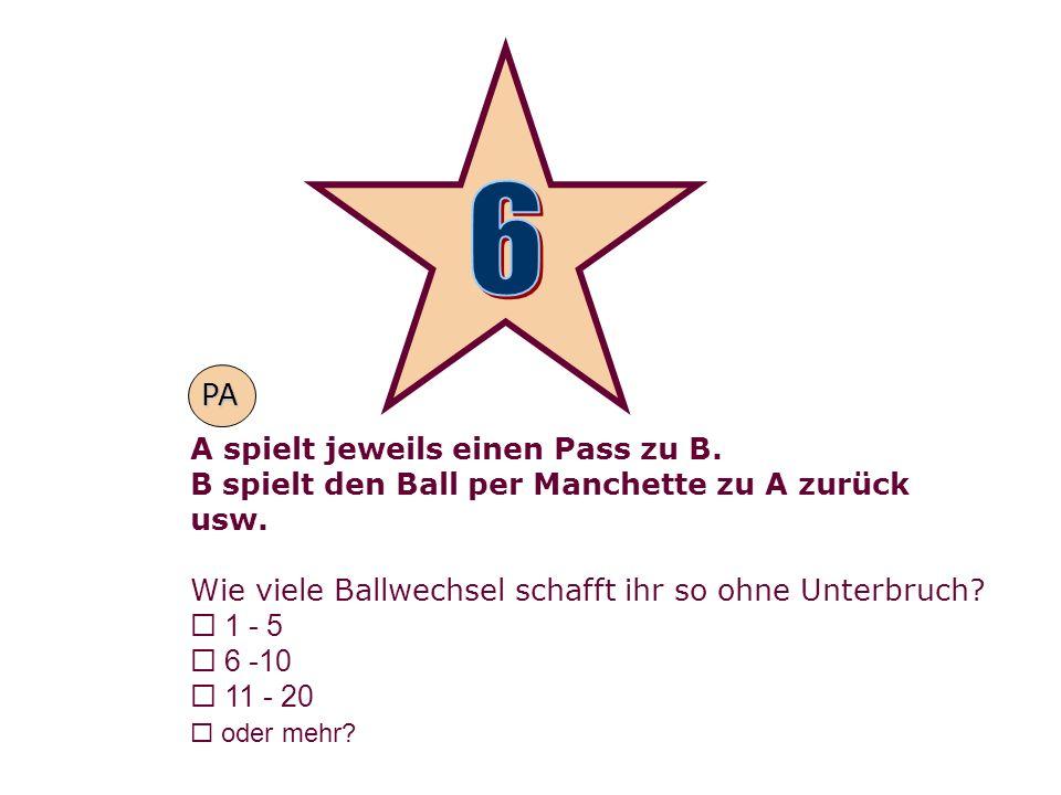 A spielt jeweils einen Pass zu B. B spielt den Ball per Manchette zu A zurück usw. Wie viele Ballwechsel schafft ihr so ohne Unterbruch? 1 - 5 6 -10 1