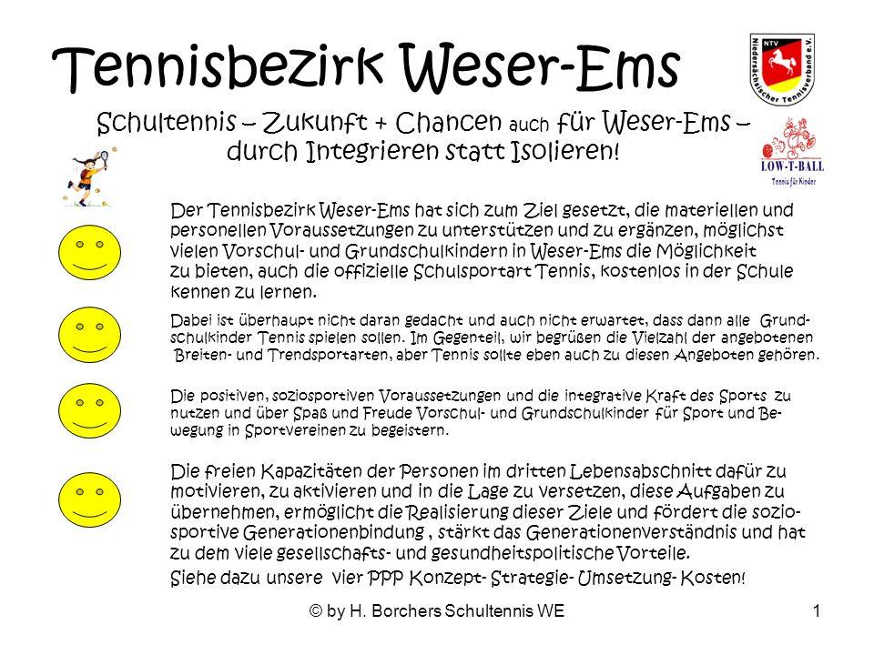 © by H. Borchers Schultennis WE1 Tennisbezirk Weser-Ems Schultennis – Zukunft + Chancen auch für Weser-Ems – durch Integrieren statt Isolieren! Der Te