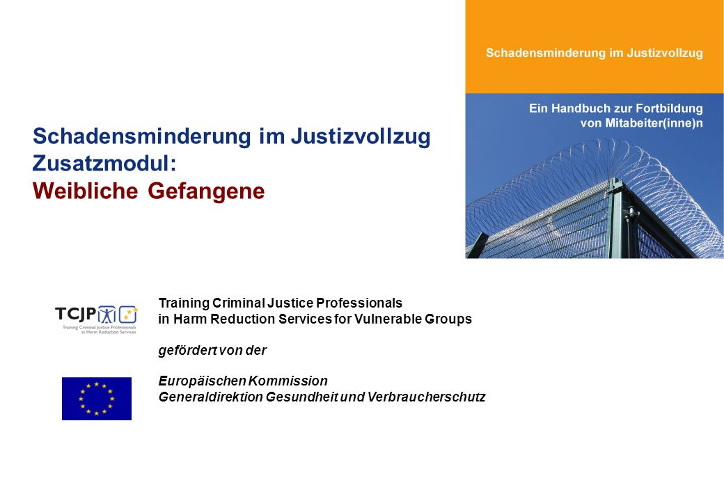 Schadensminderung im Justizvollzug Zusatzmodul: Weibliche Gefangene Training Criminal Justice Professionals in Harm Reduction Services for Vulnerable