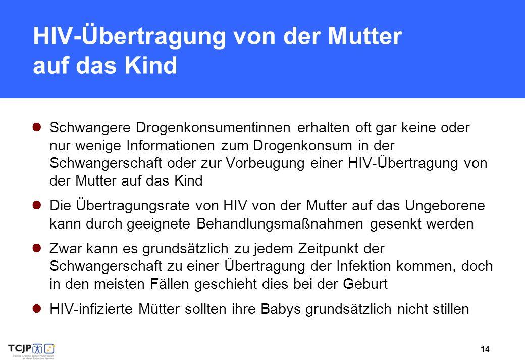 14 HIV-Übertragung von der Mutter auf das Kind Schwangere Drogenkonsumentinnen erhalten oft gar keine oder nur wenige Informationen zum Drogenkonsum i