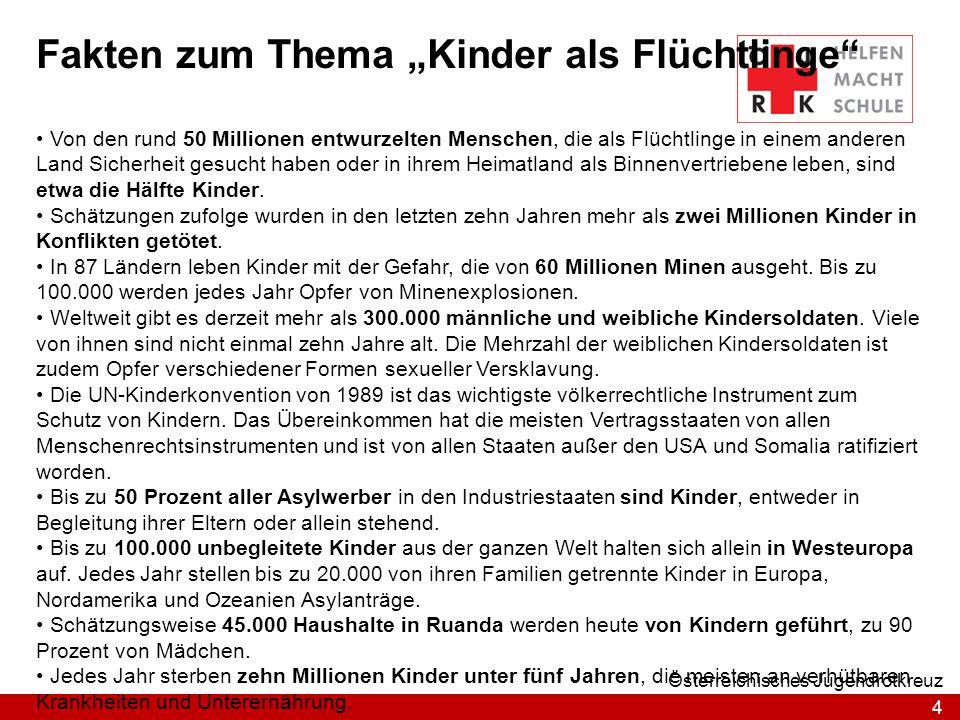 4 Österreichisches Jugendrotkreuz Fakten zum Thema Kinder als Flüchtlinge Von den rund 50 Millionen entwurzelten Menschen, die als Flüchtlinge in eine
