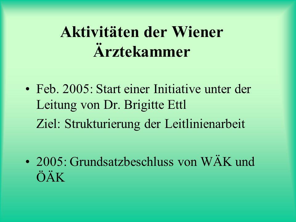 Aktivitäten der Wiener Ärztekammer Feb. 2005: Start einer Initiative unter der Leitung von Dr. Brigitte Ettl Ziel: Strukturierung der Leitlinienarbeit