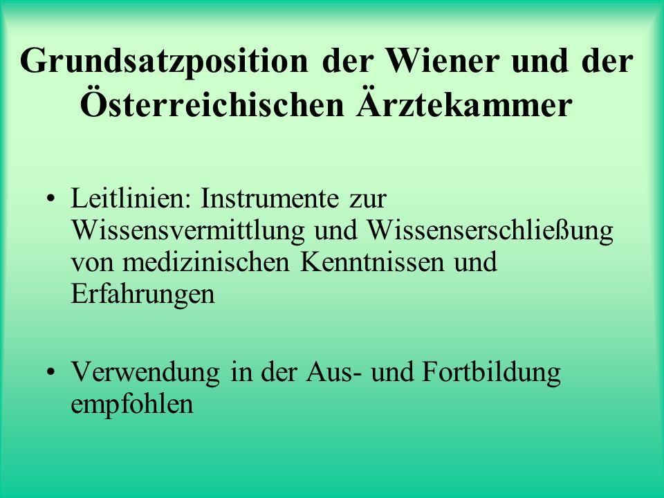 Grundsatzposition der Wiener und der Österreichischen Ärztekammer Leitlinien: Instrumente zur Wissensvermittlung und Wissenserschließung von medizinischen Kenntnissen und Erfahrungen Verwendung in der Aus- und Fortbildung empfohlen