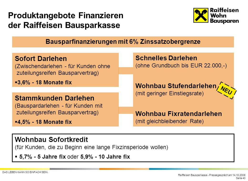 Raiffeisen Bausparkasse - Pressegespräch am 14.10.2008 Seite 40 DAS LEBEN KANN SO EINFACH SEIN. Produktangebote Finanzieren der Raiffeisen Bausparkass