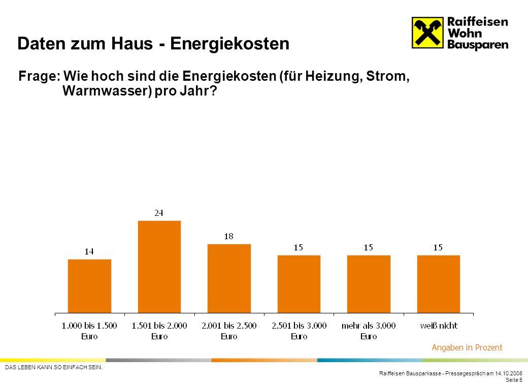 Raiffeisen Bausparkasse - Pressegespräch am 14.10.2008 Seite 5 DAS LEBEN KANN SO EINFACH SEIN. Frage: Wie hoch sind die Energiekosten (für Heizung, St