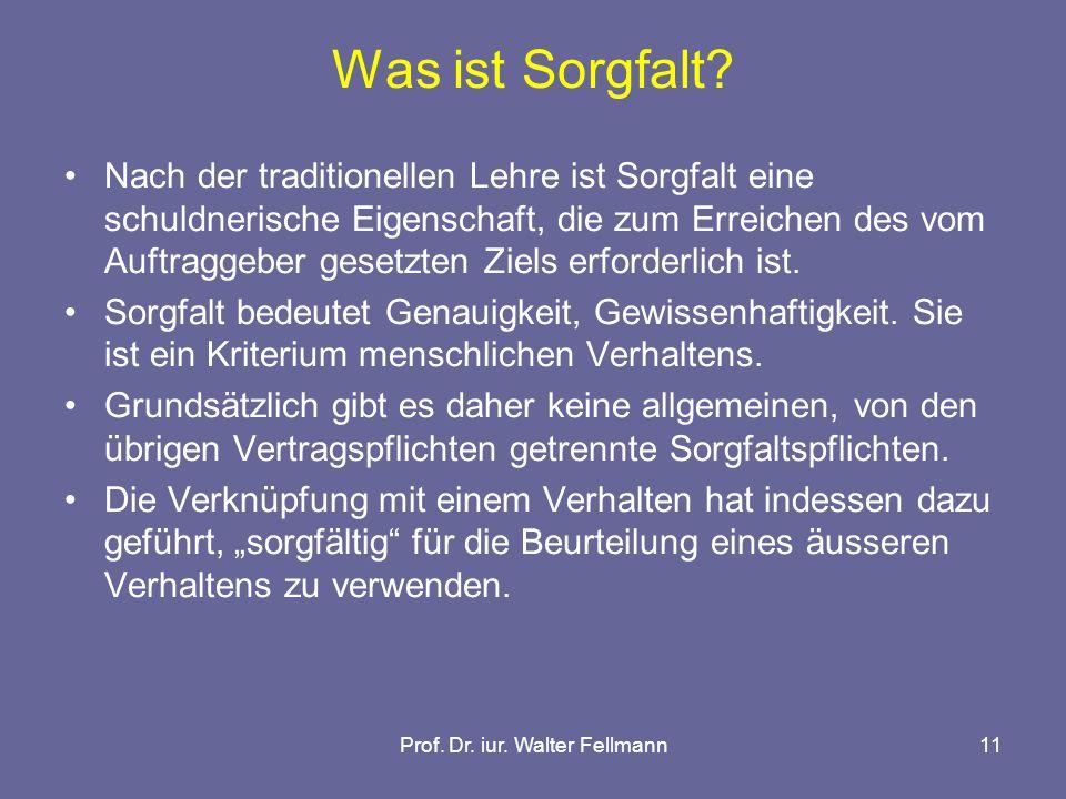 Prof. Dr. iur. Walter Fellmann11 Was ist Sorgfalt.